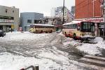 雪の日の福生駅西口広場のようすです。西東京バスの車体にも雪が積もっています。福生駅は日出町方面への玄関口として西口には多くのバスがやってきます。