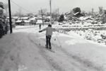 雪の積もった道でスキーをする子どものようすです。