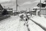 道路の雪かきをする人々のようすです。左に並ぶ住宅は通称「米軍ハウス」と呼ばれる賃貸住宅です。朝鮮戦争後、長期駐留する米軍人のために家族用の賃貸住宅がに建設され、昭和32年には市内に1100戸のハウスがありました。
