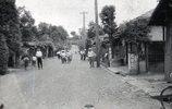 ここは昭和20年代当時の羽村(当時は西多摩村)のメインストリートです。場所は現在の羽村駅の西口側から段丘を下った所で、寺坂という坂道の下にあり、「銀座通り」とも呼ばれていました。
